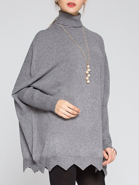 Gray Batwing Knitted Asymmetrical Sweater