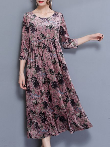 Pink Crew Neck Floral 3/4 Sleeve  Dress