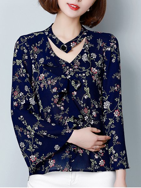 Blue Folds Floral Bell Sleeve V Neck High Low Casual Blouse