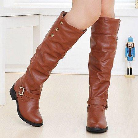 Buttoned Women Buckle PU Knee-High Boots