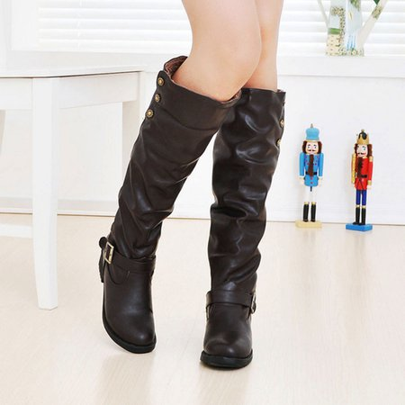 Knee-High Women PU Buckle Boots