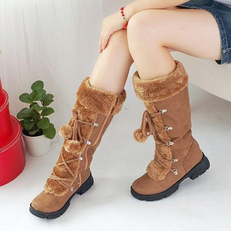 Mid-Calf Suede Women Lace Up Boots