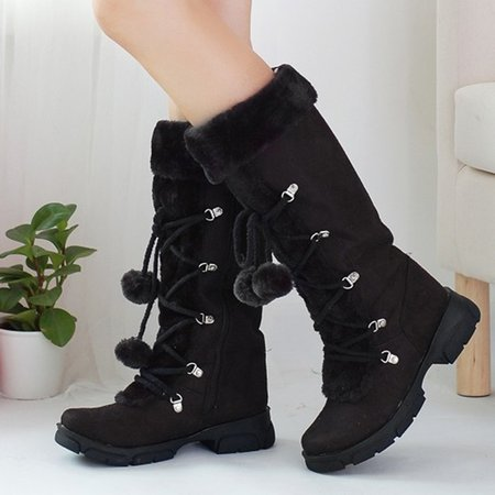 Women Suede Lace Up Mid-Calf Boots