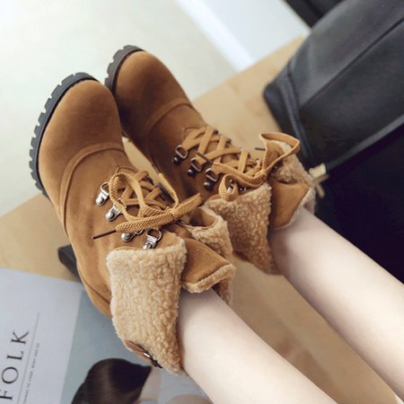 Women Suede Ankle Lace Up Boots