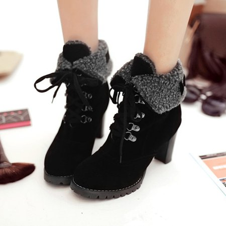 Suede Ankle Women Lace Up Boots