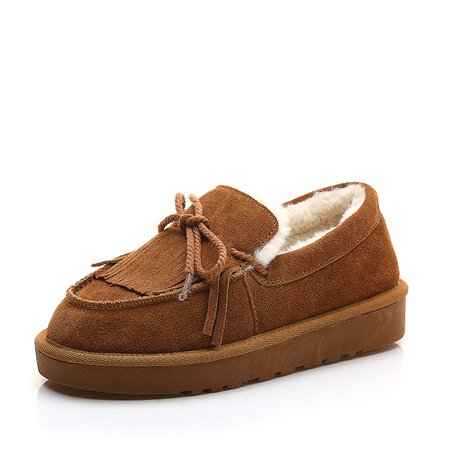 Fleece-lined Lace-Up Suede Women Loafers