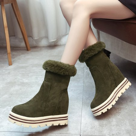 Green Inner Height Increasing Ankle Women Snow Boots