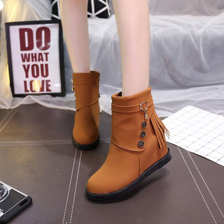 Fringed Slip-On Ankle Women Boots