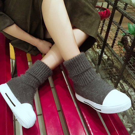 Gray Ankle Women Slip-On Knitted Boots