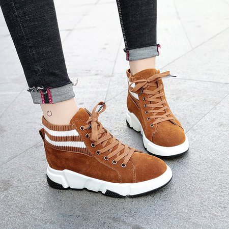 Women Lace-Up Suede Fashion Sneakers