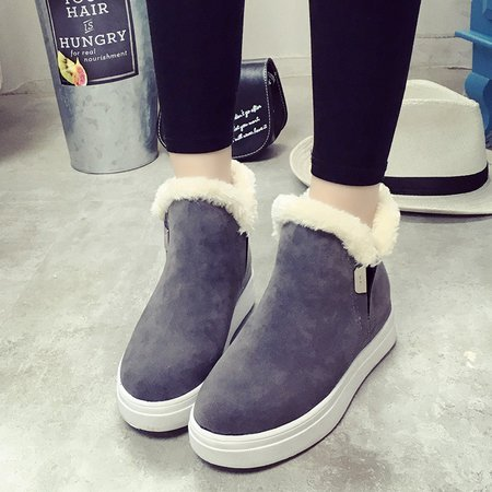 Fleece-lined Women Ankle Suede Snow Boots
