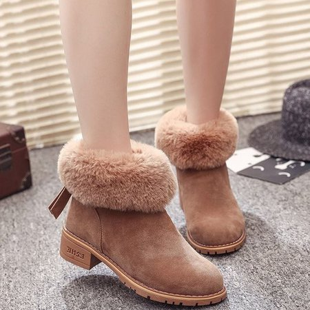 Furry Women Ankle Suede Slip-On Boots