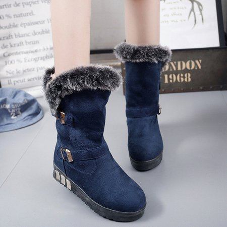 Suede Mid-Calf Women Buckle Snow Boots