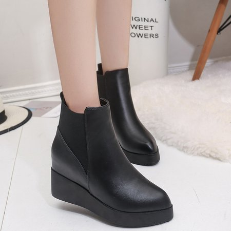 Black Slip-On Ankle PU Women Boots