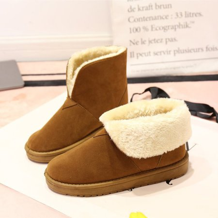 Round Toe Ankle Suede Women Snow Boots