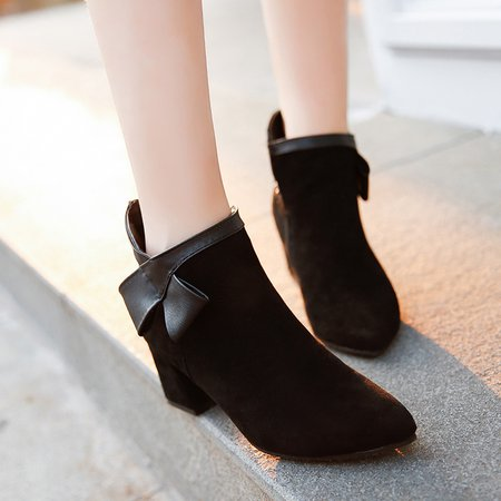 Black Women Chunky Heel Ankle Pointed Toe Boots