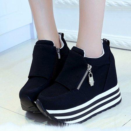 Platform Suede Women Zipper Fashion Sneakers