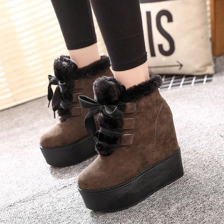 Ankle Suede Platform Lace Up Women Boots