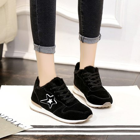 Lace-Up Suede Women Fleece-lined Fashion Sneakers