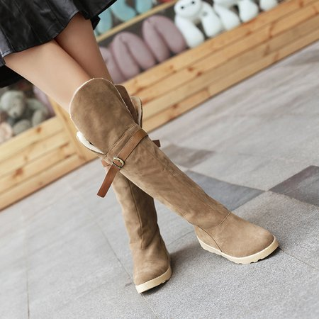 Two-way Wearing Knee-High Women Suede Boots