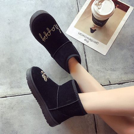 Black Round Toe Ankle Suede Women Snow Boots