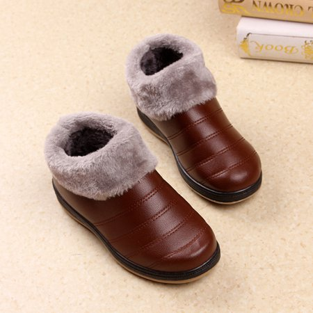 Brown Women Fleece-lined Slip-On PU Ankle Boots