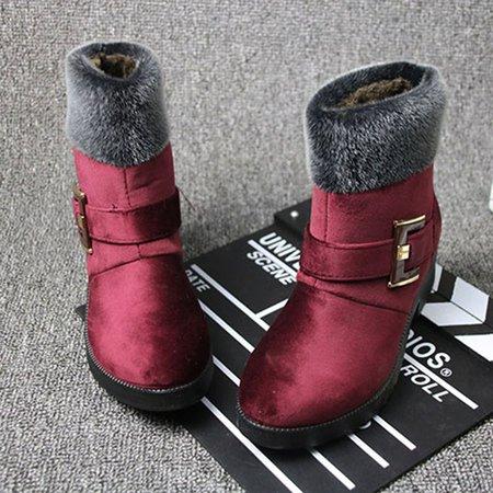 Buckle Women Snow Suede Boots