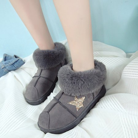 Round Toe Suede Ankle Women Snow Boots