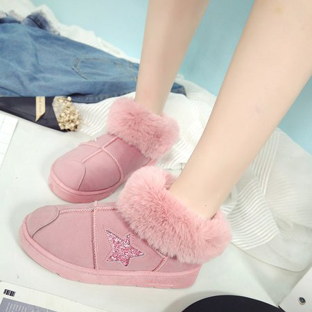 Round Toe Women Ankle Suede Snow Boots