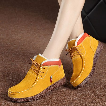 Fleece-lined Lace-Up Ankle Suede Women Boots