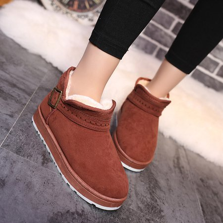 Round Toe Women Ankle Buckle Suede Snow Boots