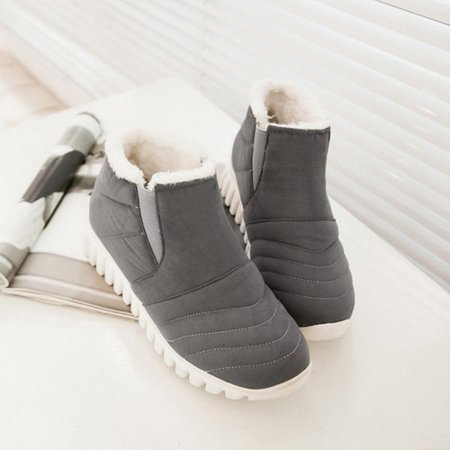 Fleece-lined Ankle Suede Women Snow Boots