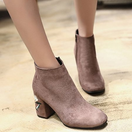 Embroidered Suede Chunky Heel Women Boots