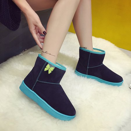 Black Ankle Round Toe Suede Women Snow Boots