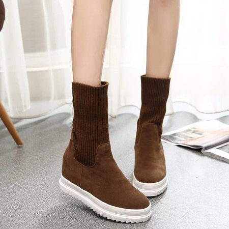 Women Suede Mid-Calf Two-way Wearing Boots