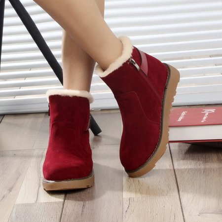 Buckle Slip-On Suede Ankle Women Boots