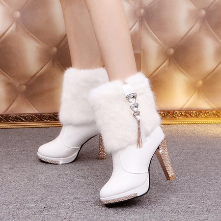 Rhinestone Women Ankle PU Slip-On Boots