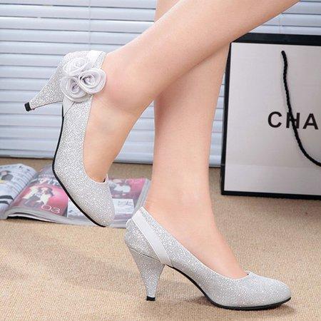 Glitter-Finished Suede Round Toe Women Stiletto Heel Pumps