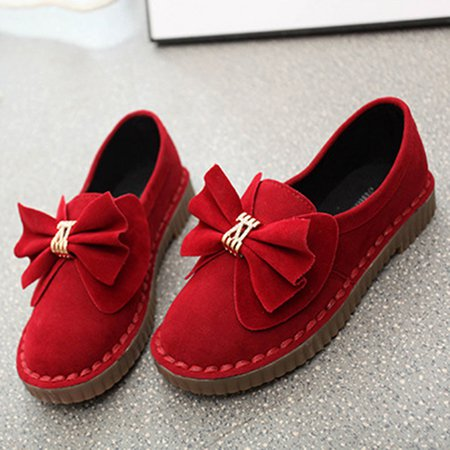 Soft Bowknot Suede Slip-On Round Toe Women Loafers