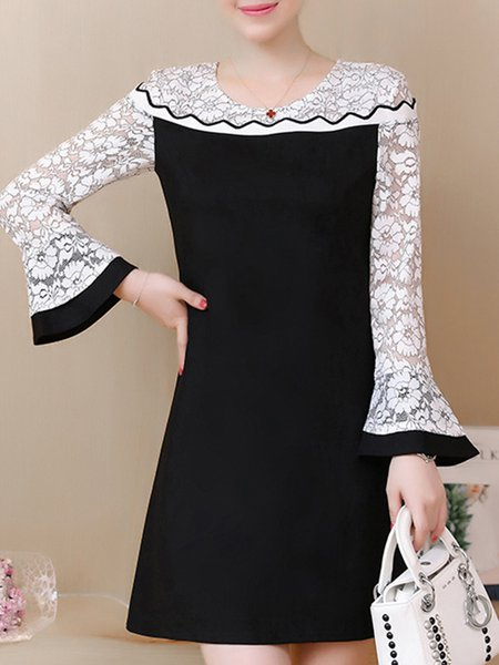 Black Bell Sleeve Paneled  Casual Lace Dress