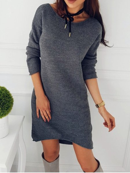 Women Casual Dress Crew Neck Shift Daytime Knitted Solid Dress