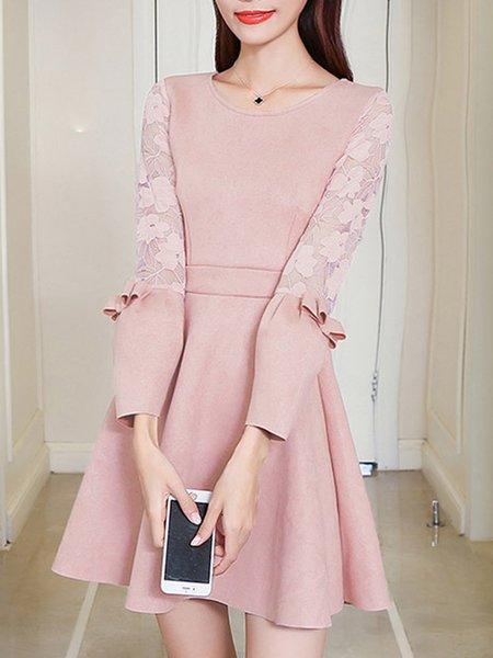 Solid Long Sleeve Paneled A-line Dress