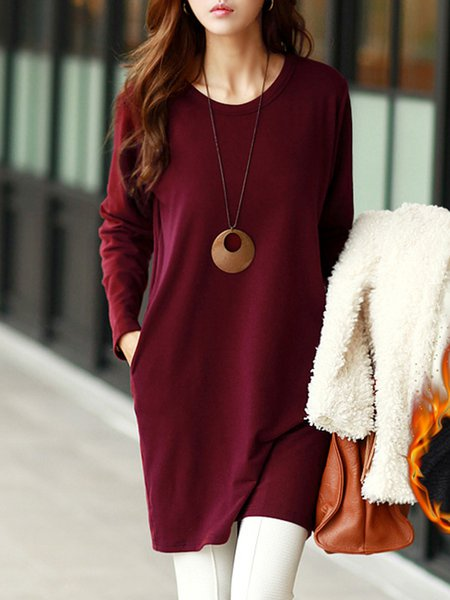 Long Sleeve Fleece-lined Solid Pockets Casual Tunic
