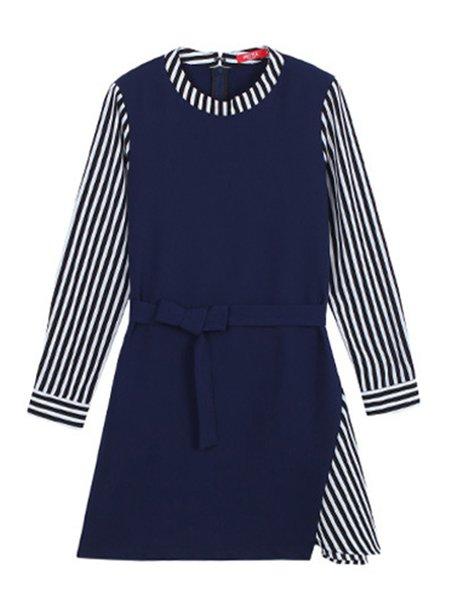 A-line Long Sleeve Paneled Casual Stripes Dress