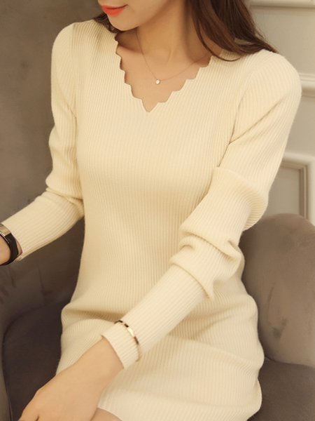 Women Casual Dress V neck Sheath Daytime Long Sleeve Knitted Dress
