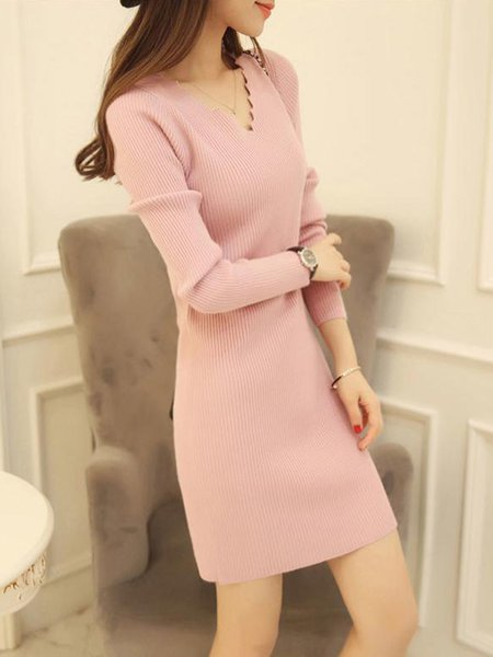 Solid V Neck Long Sleeve Sheath Knitted Casual Dress