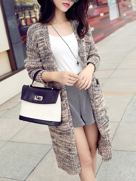 Solid Casual Long Sleeve Knitted Cardigan