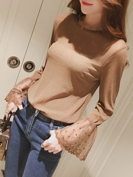 Bell Sleeve Ruffled Shimmer Casual Blouse