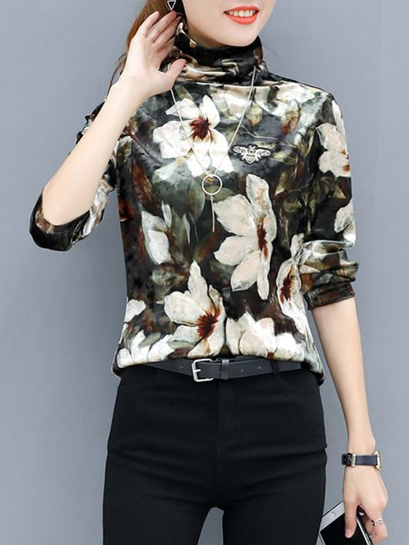 Multicolored Floral Turtleneck Velvet Long Sleeve T-Shirt