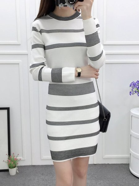 Long Sleeve Casual Stripes Knitted Crew Neck Dress